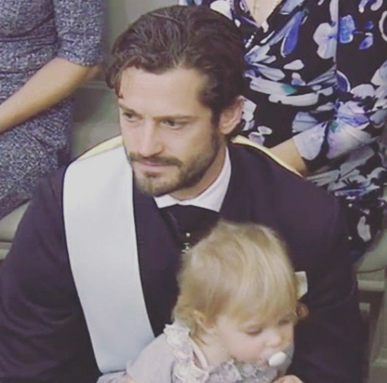 Baptism of Prince Nicolas of Sweden, 11 October 2015 ~ Princess Leonore with her uncle, Prince Carl Philip
