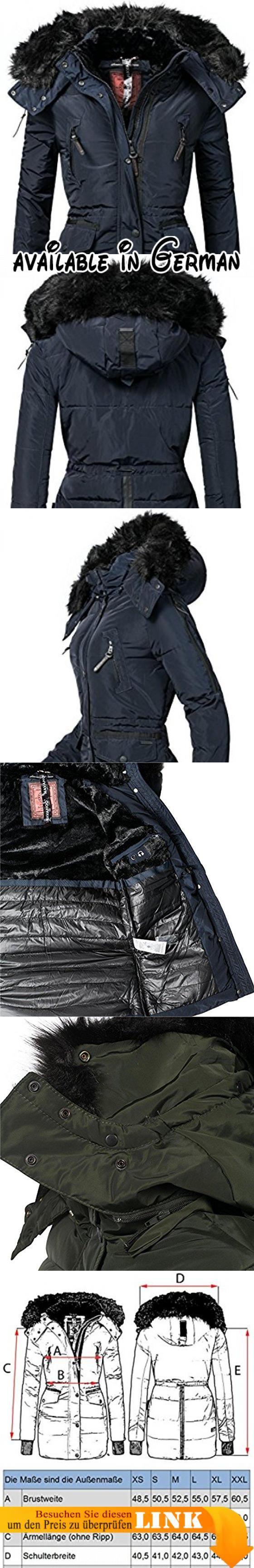 Navahoo Damen Jacke Wintermantel Winterparka Sesa (vegan hergestellt) Navy  Gr. M. Ausgefallener bcca772cee