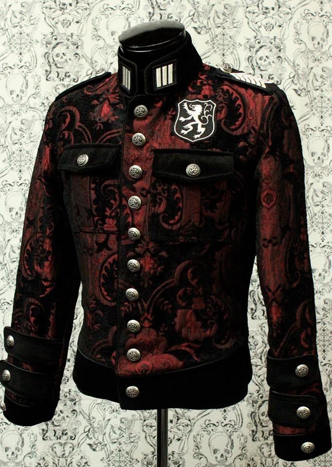 Royal Marine Jacket Red Black Tapestry With Black Velvet