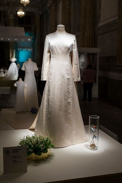 The Wedding Dress Of Queen Silvia Sweden Designed By Marc Bohan Is Seen On Display During An Exhibition At Royal Palace October 17