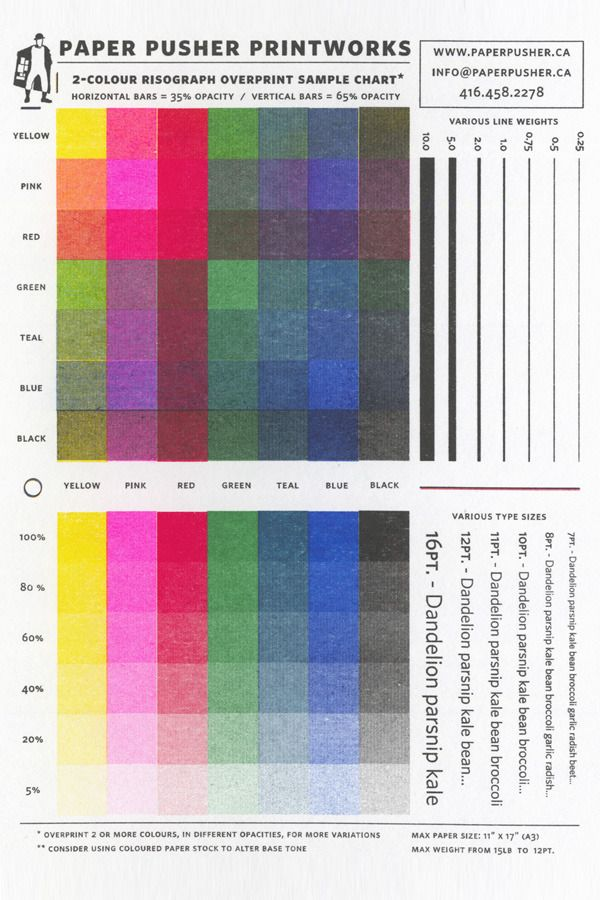 Color  Two Color Overprint Print Chart From Paper Pusher  Color