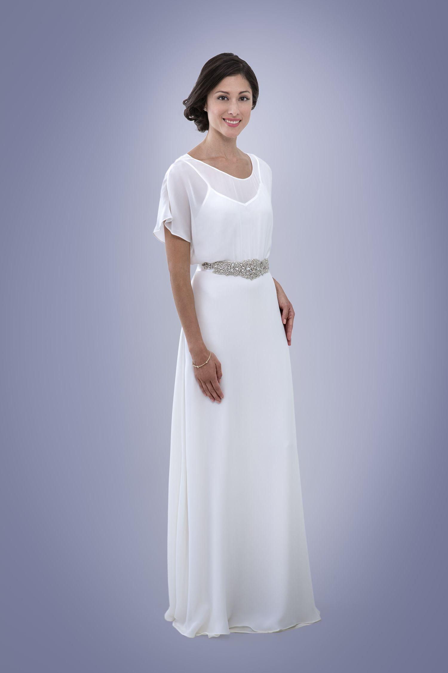 Ruthie - open back bohemian wedding dress in silk chiffon featuring ...