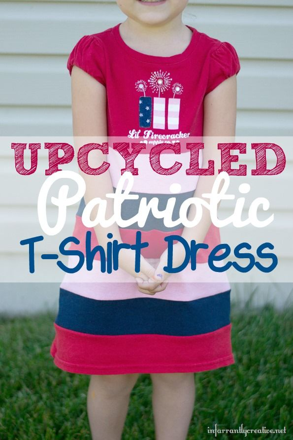 84934e9ec031 Turn old t-shirts into an adorable patriotic dress for the Fourth of ...