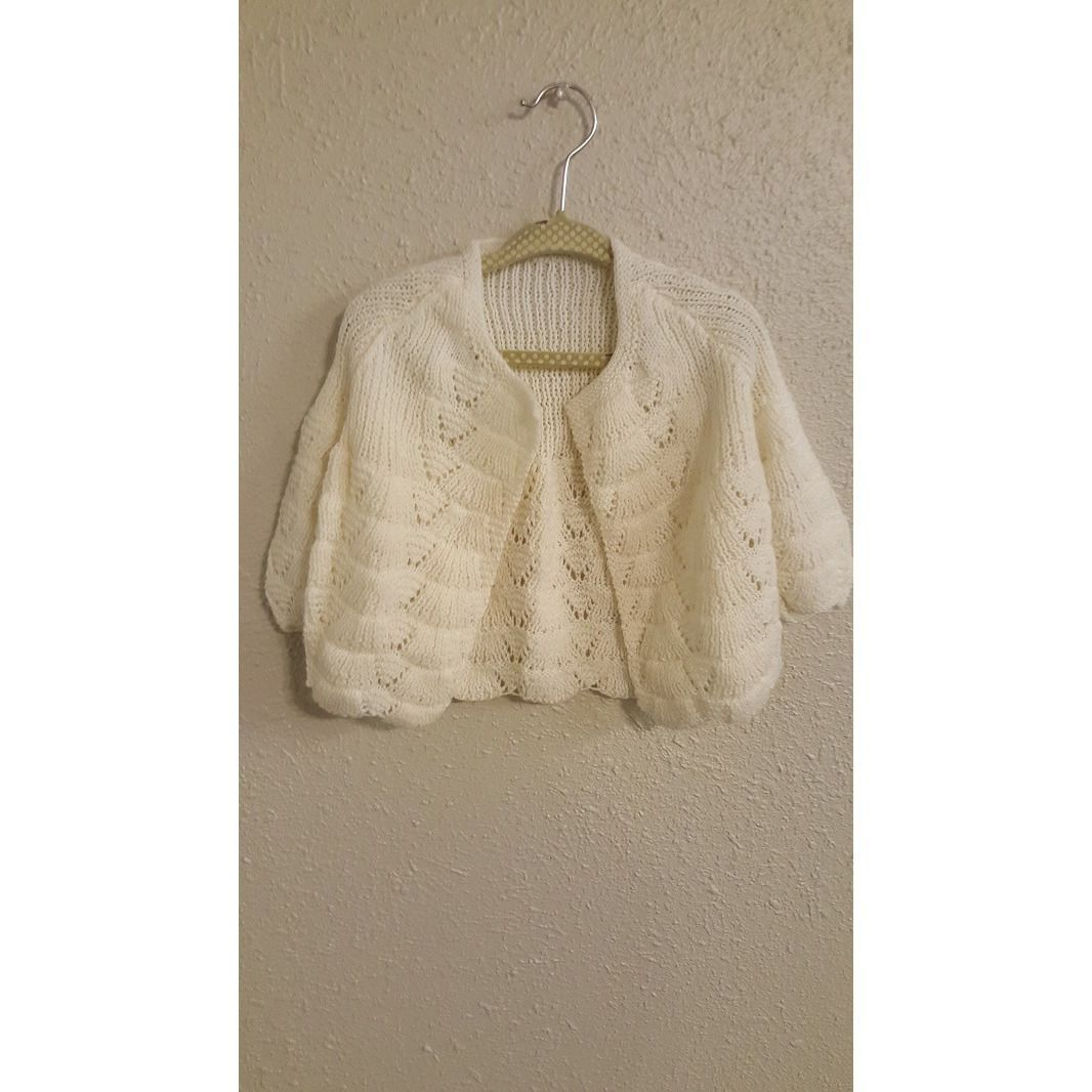 Boutique Handmade Cream Sweater and Bonnet Size 6-12m