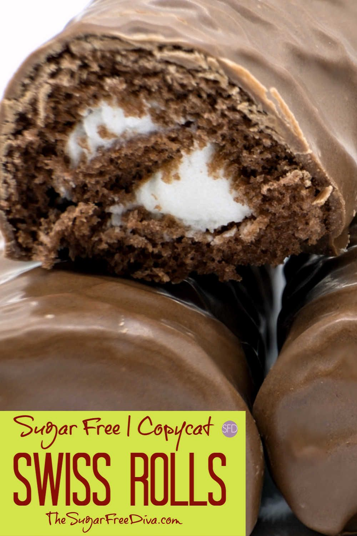 Sugar Free Copycat Swiss Rolls Sugarfree Dessert Chocolate Cake Copycat Recipe Yummy Swiss Roll Sugar Free Desserts Sugar Free Recipes