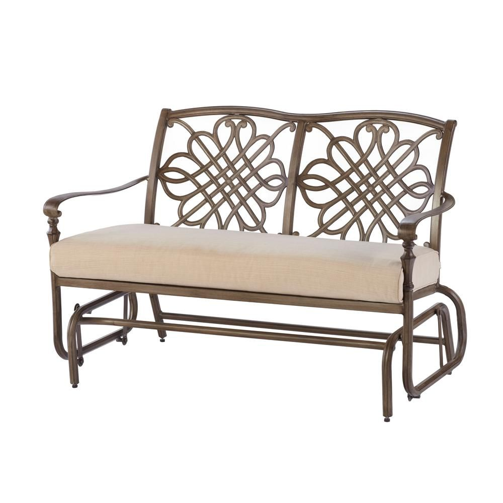 Hampton Bay Cavo Metal Outdoor Glider With Oatmeal Cushion