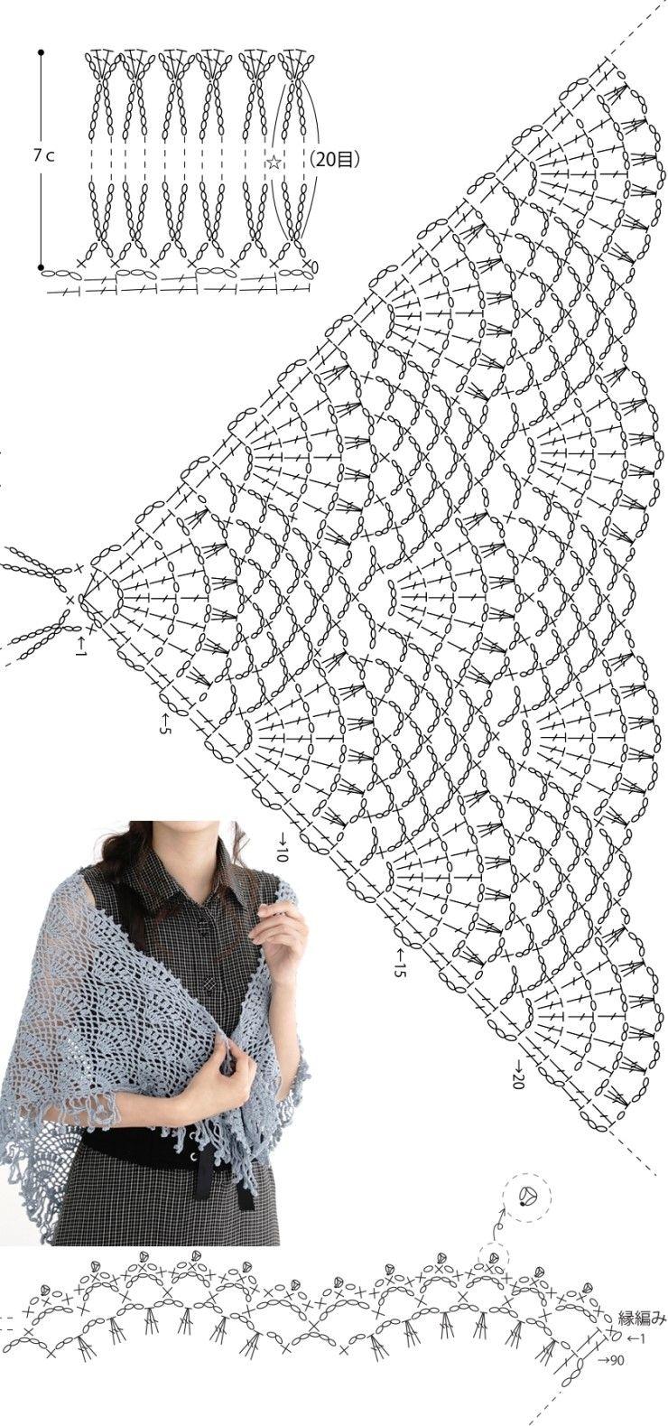 코바늘 삼각숄 도안 : 네이버 블로그 | Crochet | Pinterest | Chal ...