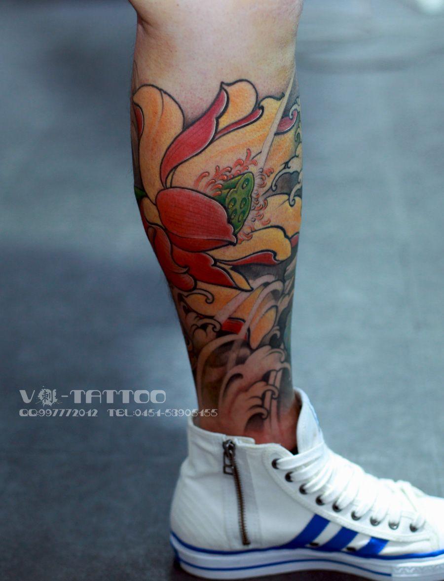 Tattoo art ink inked leg 3d flower lotus colored china tattoo art ink inked leg 3d flower lotus izmirmasajfo