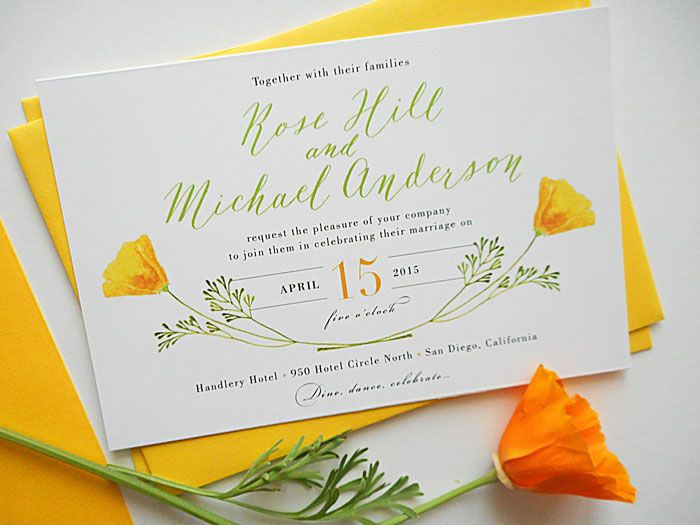 Calligraphy wedding invitations by The Elegant Quill Watercolor