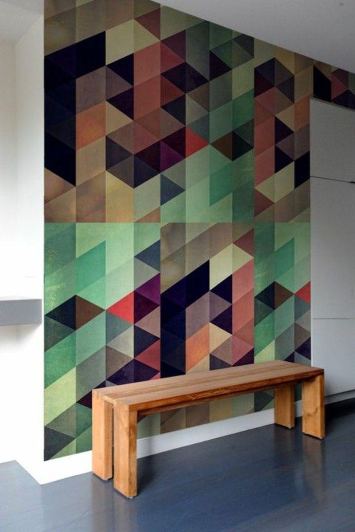 le papier peint g om trique en 50 photos avec id s salon pinterest le couloir leroy. Black Bedroom Furniture Sets. Home Design Ideas