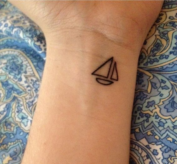 70 beautiful minimalist tattoos that are tiny small but rh pinterest com Simple Ship Tattoo simple sailing tattoos