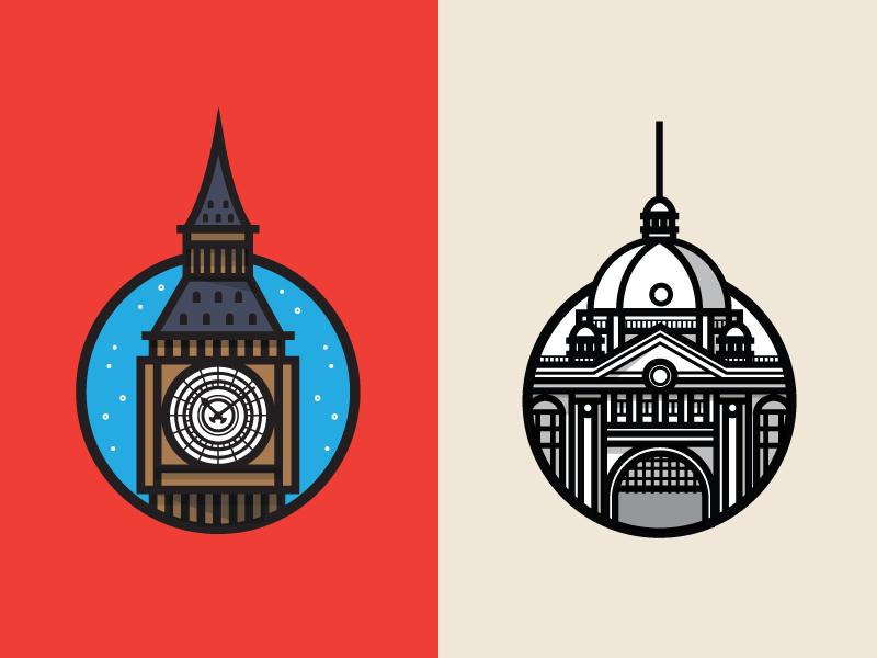 Big Ben Flinders Station Digital Art Illustration Big Ben City Icon