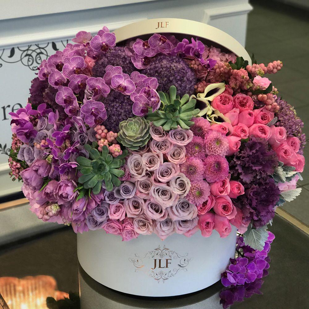 Purple And Pink Fusion Jlf Los Angeles Luxury Flower Arrangement Luxury Flowers Beautiful Flower Arrangements