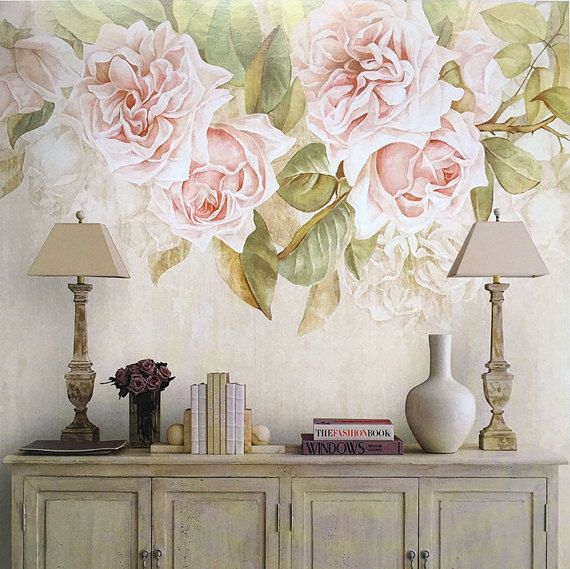 vintage rose wallpaper romantic flower wall mural art ivory cream