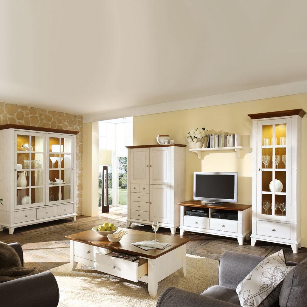 Komplett Wohnzimmer Senorita (6-teilig) - Weiß/Braun - Kiefer ...