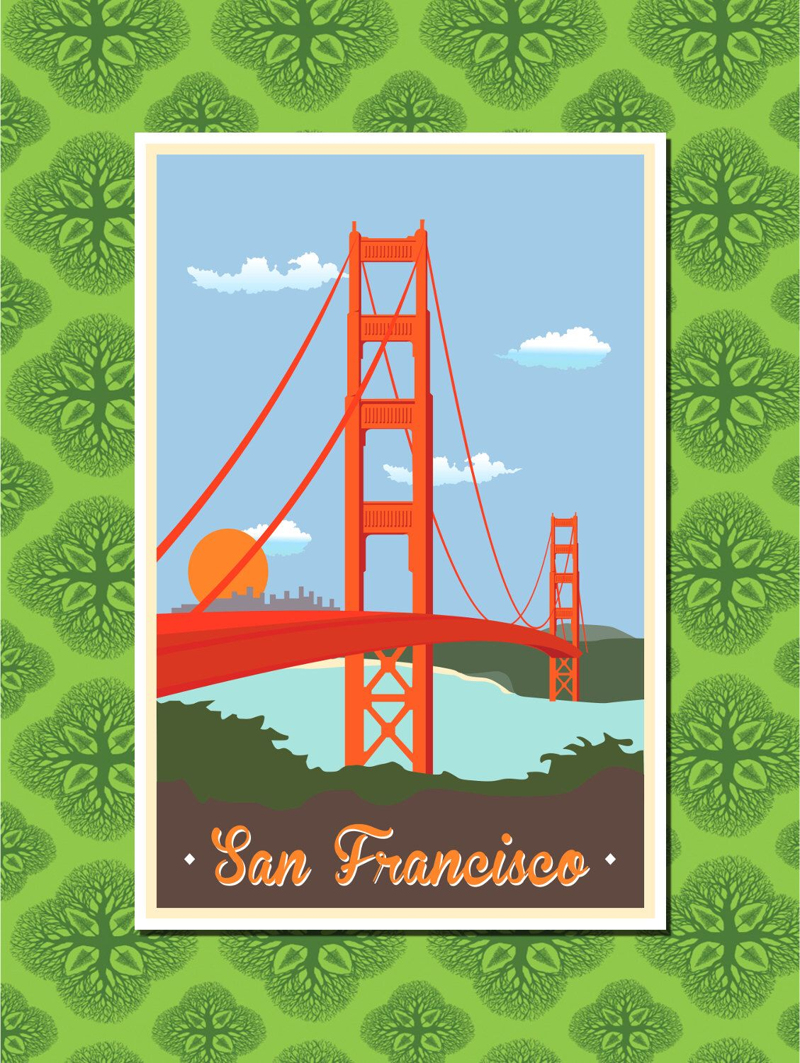 San Francisco Travel Poster Wall Decor (7 print sizes