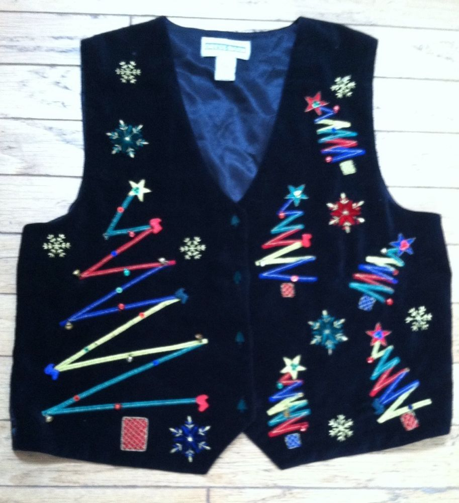 047ac68175a Ugly Christmas Vest  Bells! Bling! Black Velvet! Dress Barn Large ...