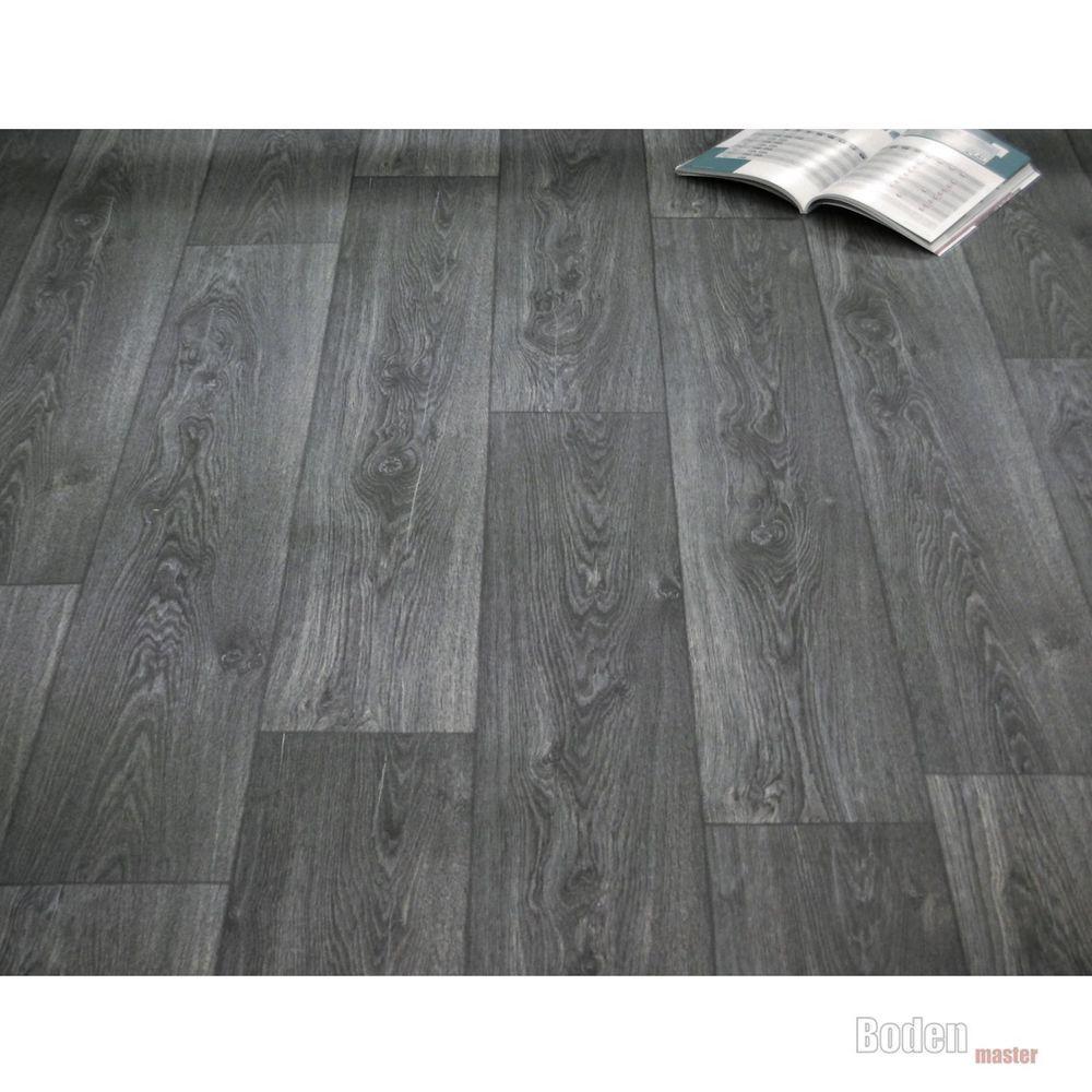 PVC Bodenbelag Holz Maxiplanken Schwarz Grau  Breite 4 Meter  Bden  Pvc bodenbelag Grauer