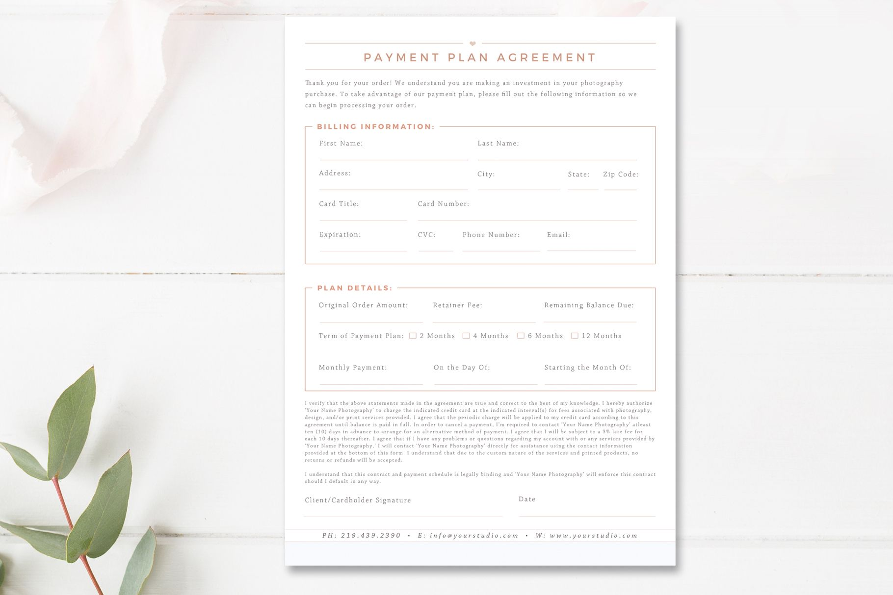 Professional Payment Plan Agreement Template Editable In Photoshop