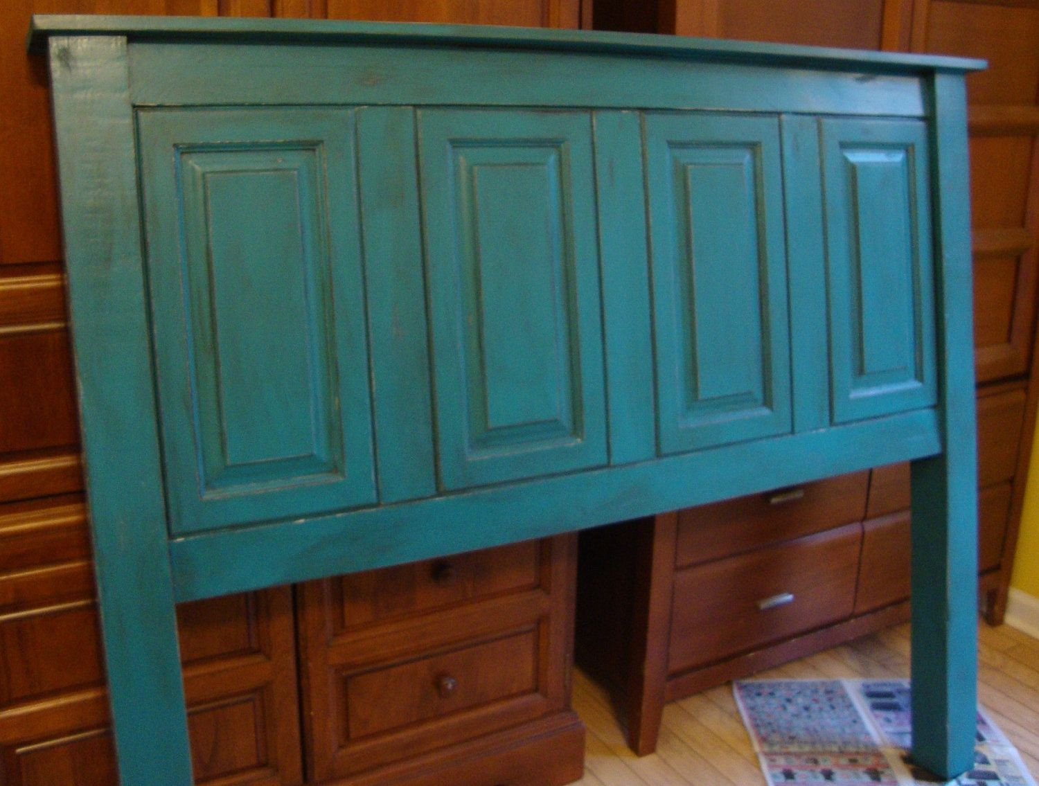 Headboard Re Purposed From Old Cabinets And New Material Example Via Etsy