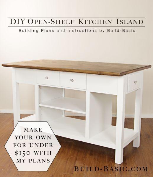 Build A DIY Open Shelf Kitchen Island U2013 Building Plans By Build Basic  @BuildBasic