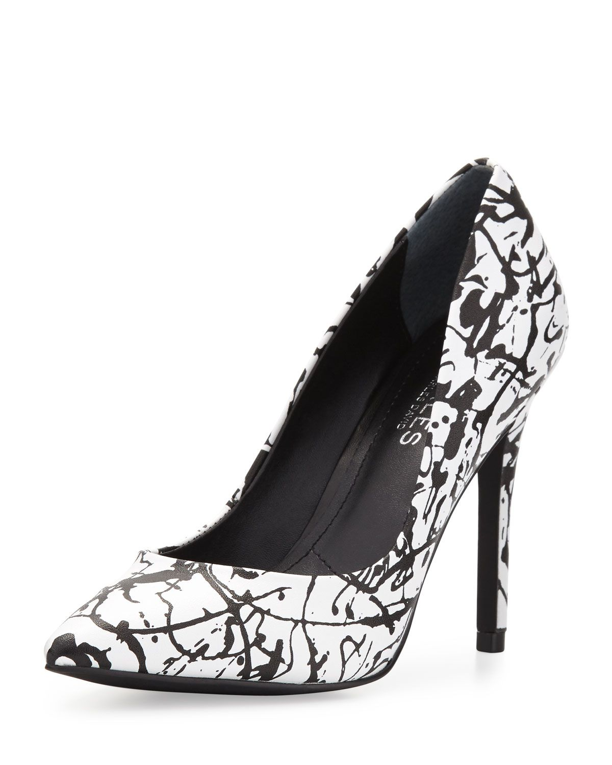 Charles by Charles David Pact Splatter-Print Leather Pump, Black & White, Women's, Size: 6 1/2, Black/Whit