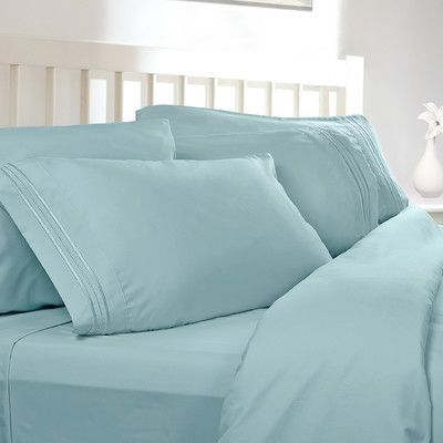 Clara Clark Premier 1800 Thread Count Sheet Set Color: Light Blue, Size: Queen