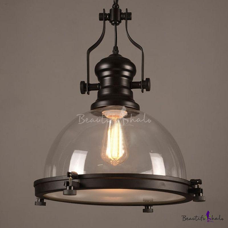 sale retailer 852ba 2984d Nautical Style 1 Light Clear Glass Pendant Light in Black ...