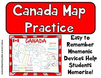 Canada Map Practice - Maps, Mnemonic Device, Practice Sheet & Quiz on