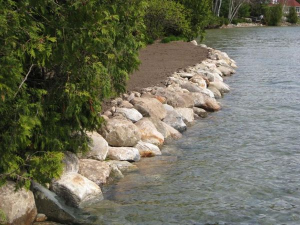 rip rap retaining wall shoreline