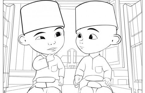 Upin Ipin Muslim Coloring Page Coloring Books Coloring Pages