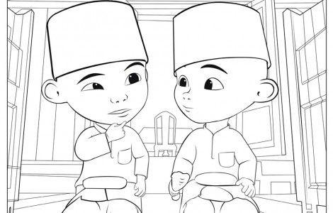 upin ipin muslim coloring page
