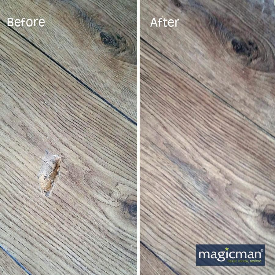 We Repair Chips Gouges Scrapes Stains And Even Burns In Wood Or Laminate Flooring Our Specialist Technicia Flooring Laminate Flooring Laminate Floor Repair