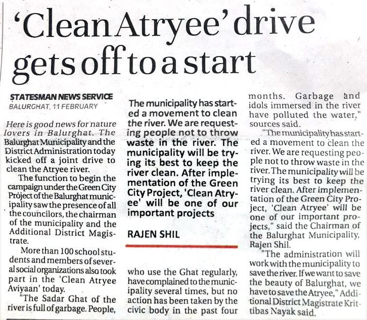 News story on 'CleanAtryee' drive in Balurghat