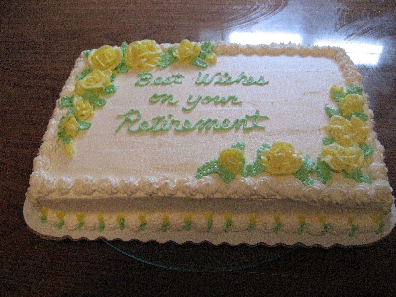 Retirement Yellow Roses Cakes