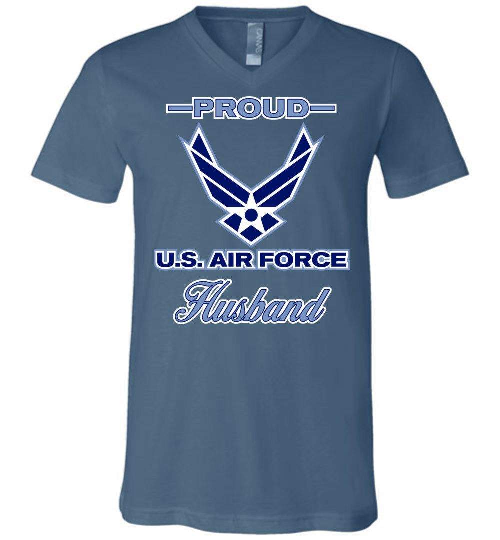 Proud U.S. Air Force Husband Canvas Unisex V-Neck T-Shirt