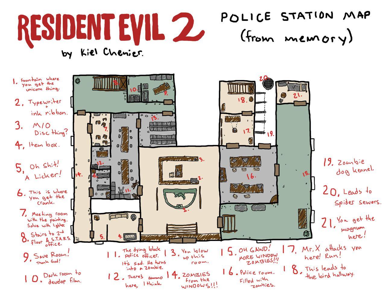 Kiel Chenier Mapa Desenhado A Partir De Lembrancas Do Jogo Resident Evil 2 Resident Evil Resident Evil Raccoon City Resident Evil Wesker