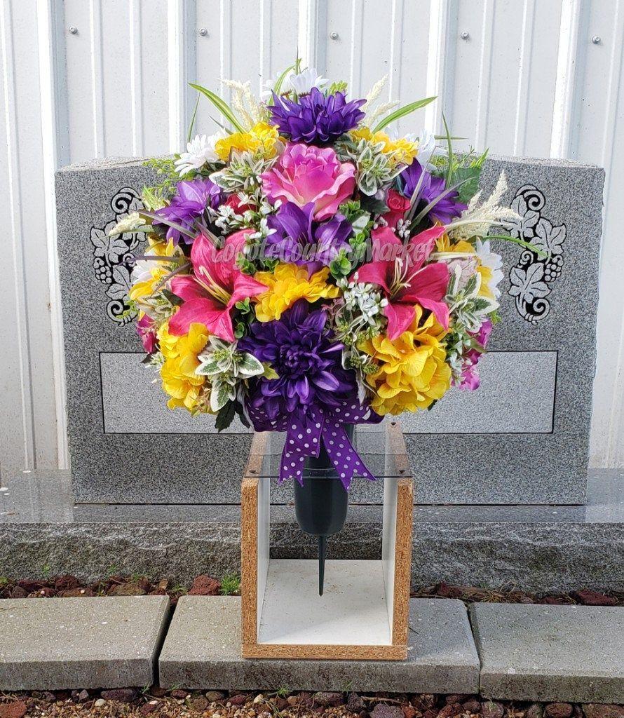 Purple Pink Yellow Cemetery Ground Vase With Stake Cemetery Vase With Ground Stake 1 2 Vase Or All Aroun In 2020 Memorial Flowers Flower Arrangements Vase Arrangements