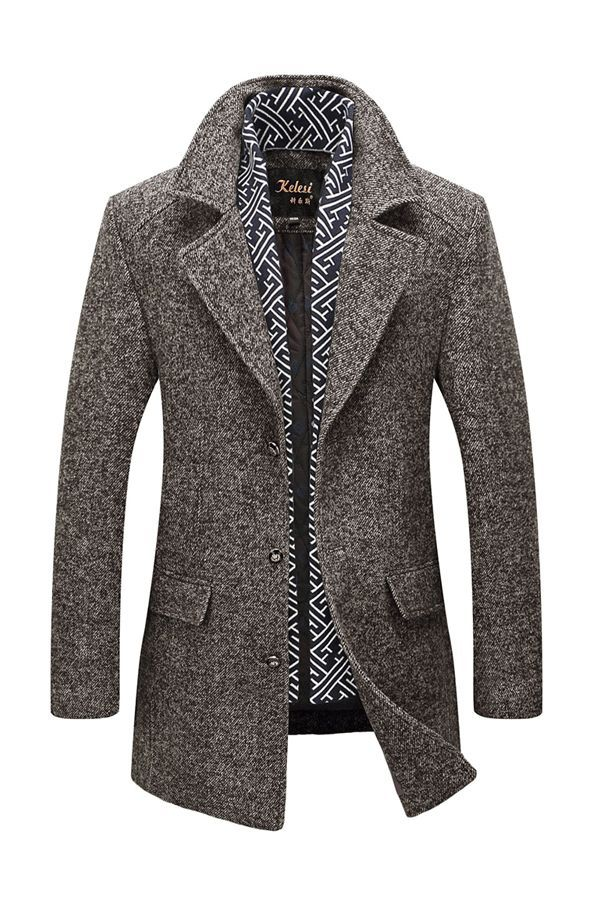 Plain Slim Mid-length Thick Mens Wool Coats#jarment#