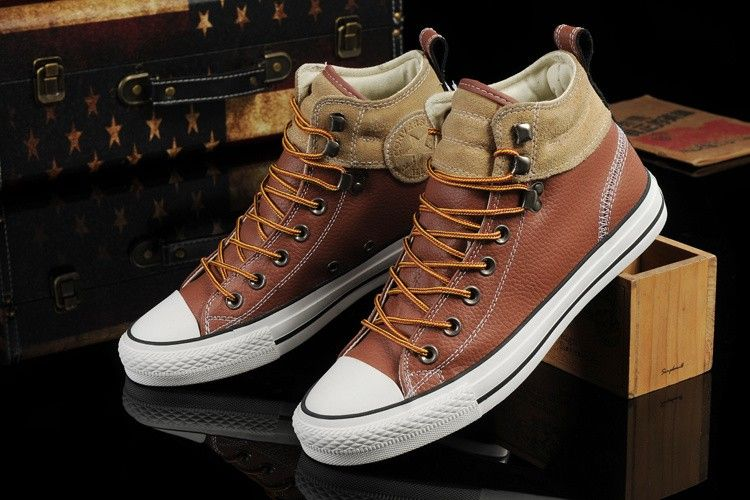 converse all star cuero marron