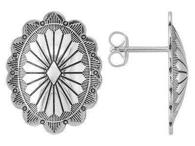 Southwest Style By Jtv (Tm) Oval Sterling Silver Stud Earrings