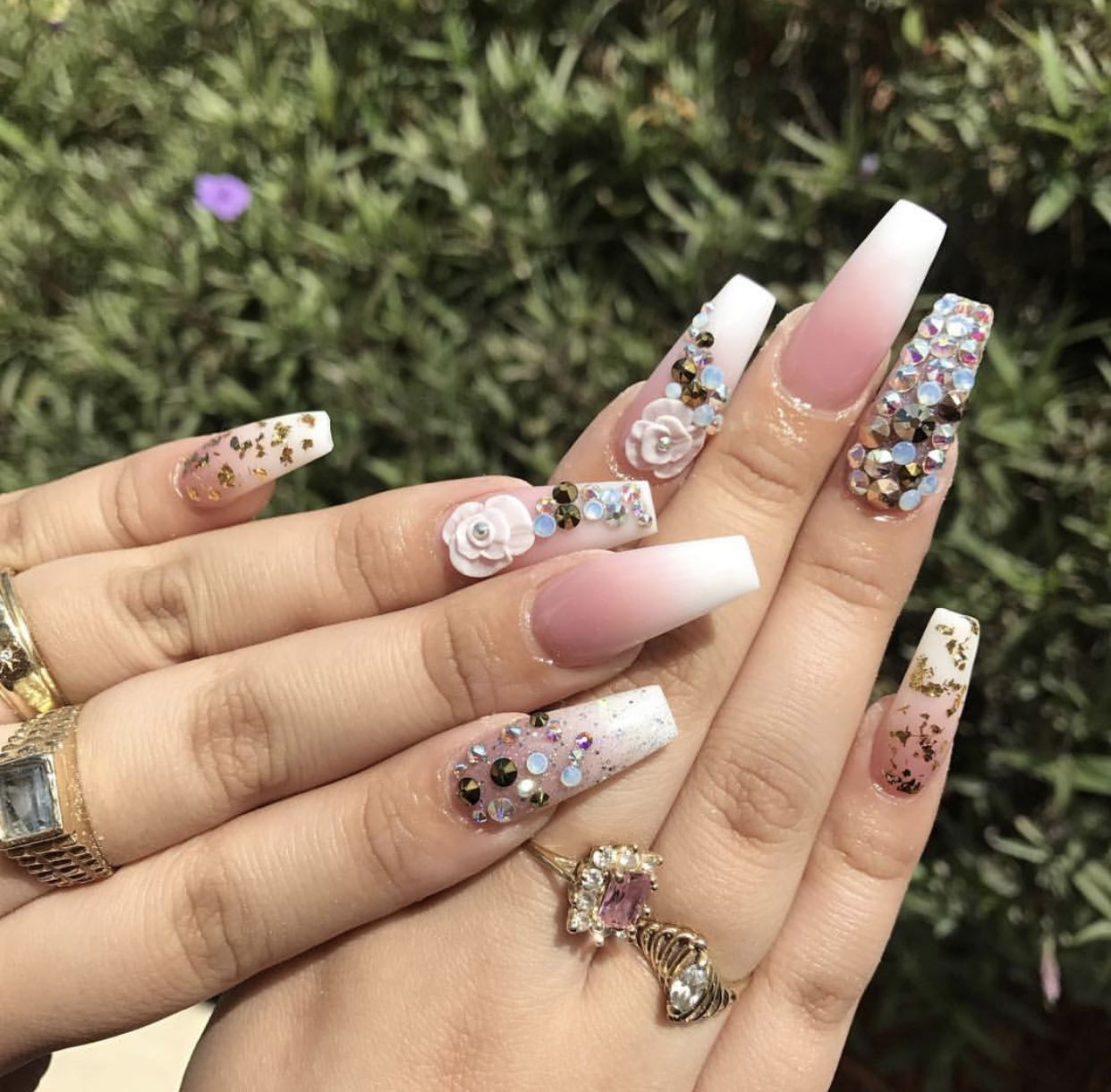 Long Coffin Nails  Pink & White Ombré with Extra Silver