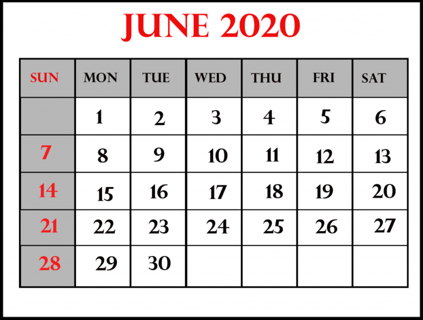 35 Best Printable June 2020 Calendars You Can Get For Free