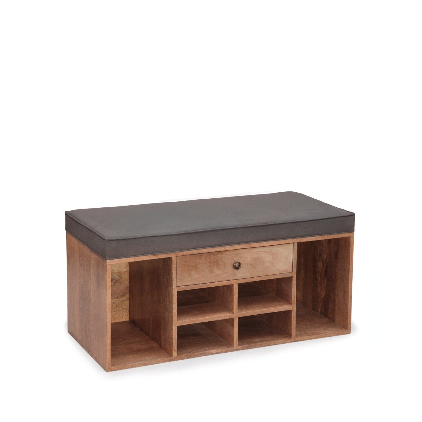 Shoe Storage Bench With Drawer Grey