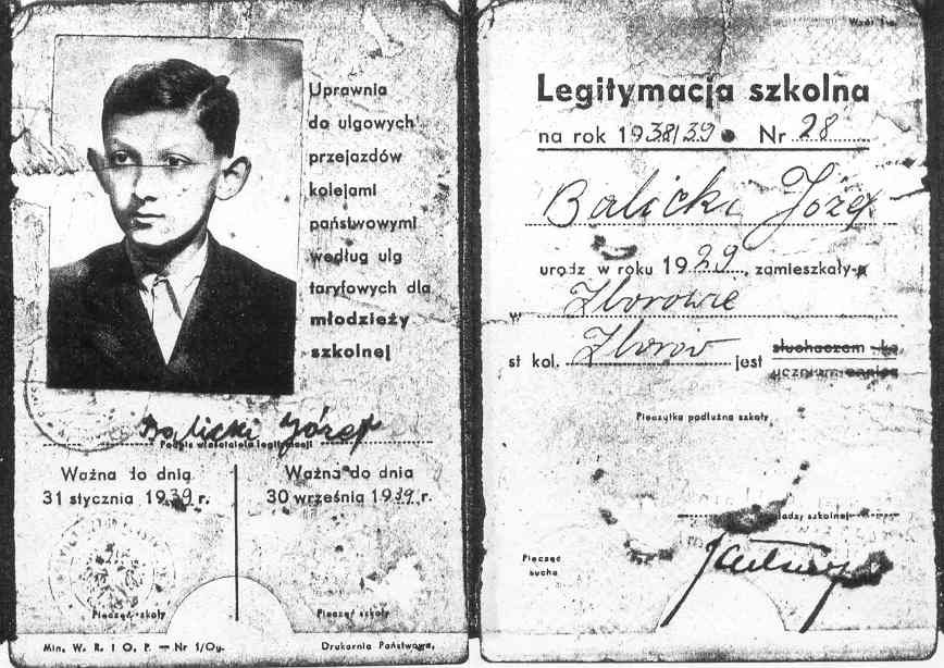 008 school identification card issued in Zborów, 1939