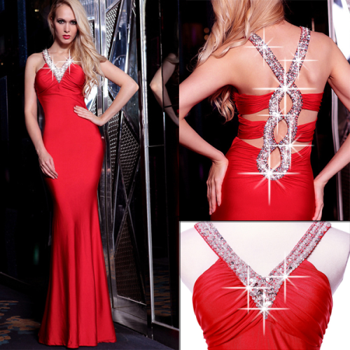 Luxury Rinstone Back Hollow-out V Neck Off The Shoulder Sleeveless Red Polyester Sheath Ankle Length Evening Dress
