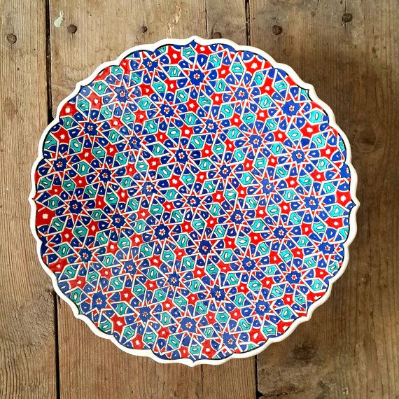 Hand Made Turkish Ceramic Plate / Wall Decor / iznik by Turqu50 $90.00  sc 1 st  Pinterest & Hand Made Turkish Ceramic Plate / Wall Decor / iznik Ceramic   Plate ...