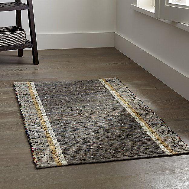 Quentin Grey Cotton Rug | Crate and Barrel kitchen rug ...