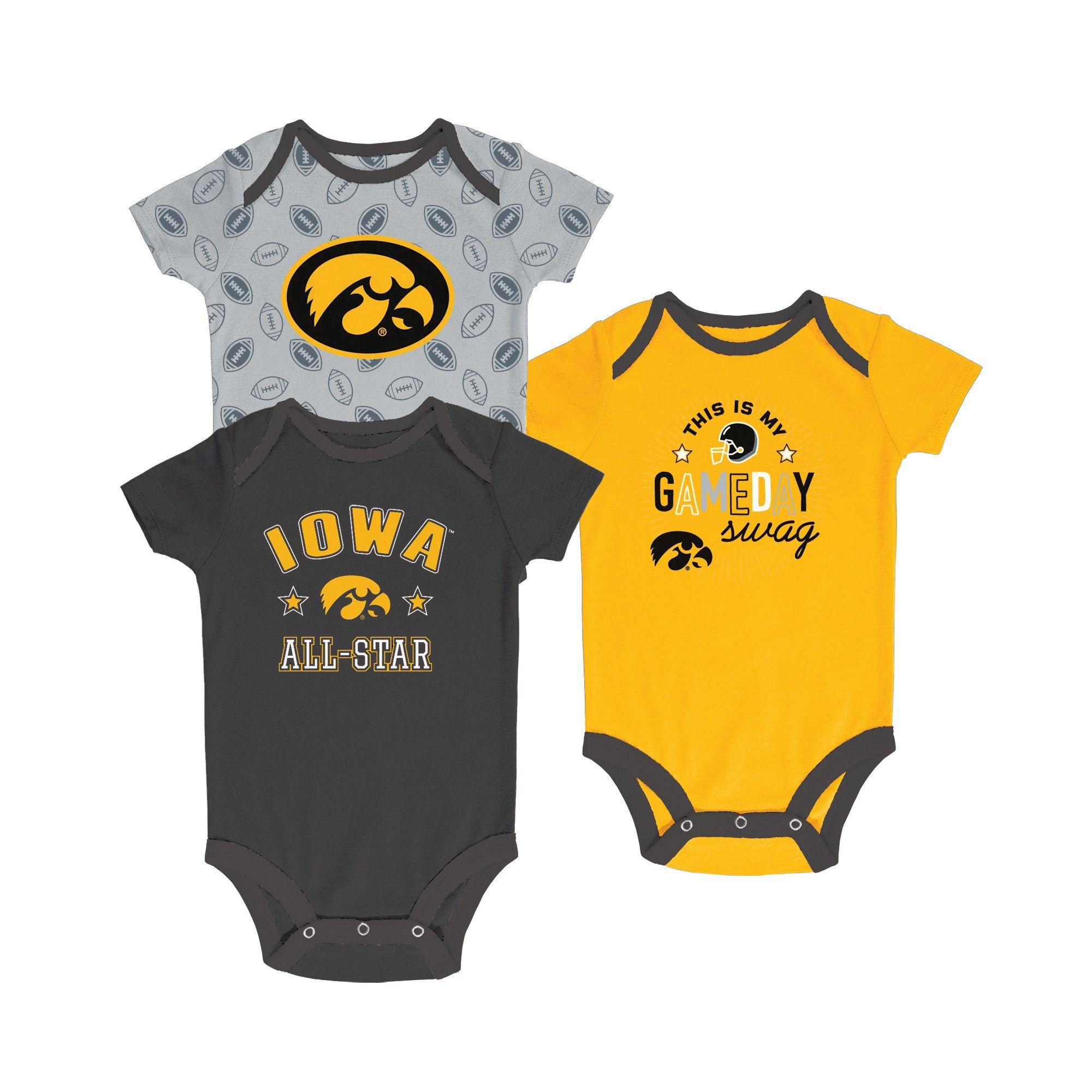 a3932f43f Iowa Hawkeyes Baby Boy Short Sleeve 3pk Bodysuit - 0-3M, Multicolored Iowa  Hawkeyes