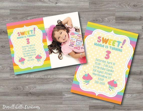 Printable Birthday Stationery Paper ~ Custom printable birthday invitation rainbow lemonade digital
